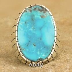 Navajo Native American Sterling Silver Oval Turquoise Ring Size 10.5