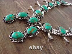 Navajo Nickel Silver Turquoise Squash Blossom Necklace by Jackie Cleveland