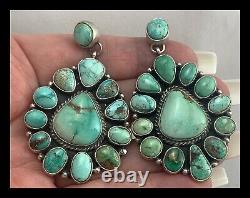 Navajo Royston Turquoise Ss Cluster Earrings Geraldine James