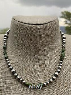 Navajo Royston Turquoise Sterling Silver Navajo Pearl Beaded Necklace 20 Inch