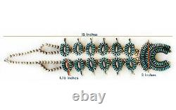 Navajo Squash Blossom Turquoise & Sterling Silver Necklace Wilford Begay