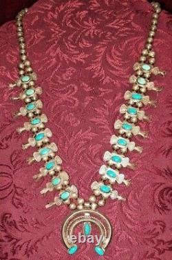 Navajo TURQUOISE Box & Bow SQUASH BLOSSOM Necklace Small Southwest