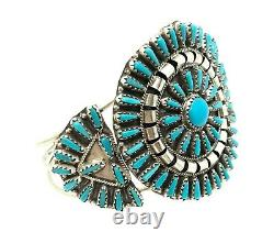 Navajo stabilize Turquoise Cluster Sterling Silver Cuff Bracelet By Violet Begay