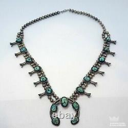OLD PAWN NAVAJO Sterling Silver SQUASH BLOSSOM Necklace 27.5 TURQUOISE W2C1