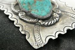 Old NAVAJO CONCHO BELT BUCKLE withExtra Large Blue TURQUOISE & great Stamping