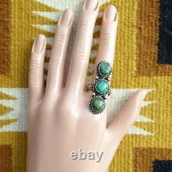 Old Navajo Fred Harvey Era Green Turquoise Triple Stone Ring Signed H Size 8