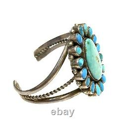 Old Pawn Navajo Handmade Sterling Silver Turquoise Cluster Cuff Bracelet