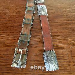 Old Pawn Southwestern Native American Navajo Concho (12) Leather Belt (163g) 26