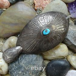 Old Signed ABJ Navajo Sterling Silver + Turquoise Native American Hair Barrette