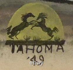Original Painting & Frame Native American Artist Quincy Tahoma Indian Art 1949