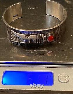 RARE Navajo NORBERT PESHLAKAI Sterling Silver & Red Coral Cuff Bracelet Must See