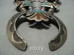 Rare Vintage Navajo Turquoise Coral Sterling Silver Squash Blossom Necklace