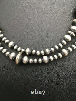 Sale Gift 36in Long Navajo Pearls Native American Sterling Silver Necklace 3099