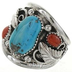 Sterling Silver AZSleeping Beauty Turquoise Coral Men's Ring Navajo Large Size