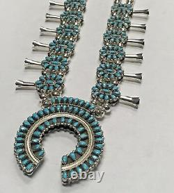 Sterling Silver Navajo Handmade Cluster Reversible Squash Blossom Necklace Set