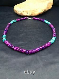 Stunning Navajo Purple Sugilite Turquoise Bead Sterling Silver Necklace 20 3280