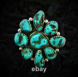 VINTAGE Old Pawn NAVAJO 925 STERLING SILVER Super Blue TURQUOISE Flower RING 8