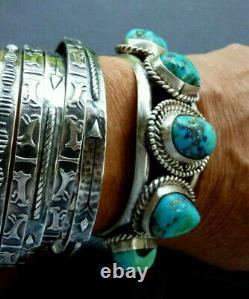 VINTAGE Old Pawn Native American NAVAJO Turquoise STERLING Cuff Bracelet 68 GRAM
