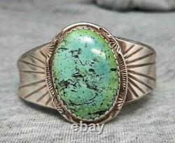 Vintage Domed Blue Green Turquoise Vintage Navajo Silver Bracelet Cuff