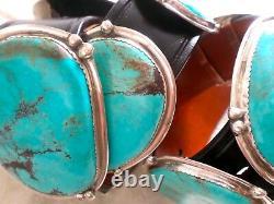 Vintage E&C Fierro Navajo Native American Sterling Silver Turquoise Concho Belt