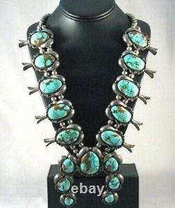 Vintage NATURAL ROYSTON TURQUOISE SQUASH BLOSSOM NECKLACE, Old Pawn c1960s, HUGE