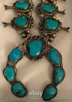 Vintage Native American Navajo Squash Blossom Sterling Silver Turquoise Necklace