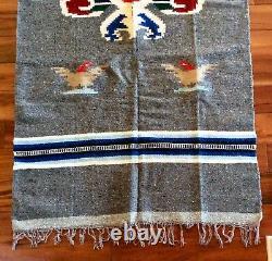 Vintage Native American Navajo Style Or Mexican Wool Blanket Rug / Serape Poncho