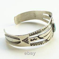 Vintage Native American Navajo Thunderbird Cuff Bracelet Turquoise + Sterling