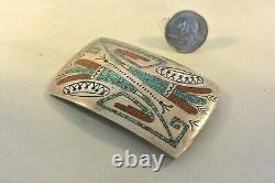 WILLIAM SINGER NAVAJO BELT BUCKLE Sterling Silver Turquoise & Coral Tommy's Bro