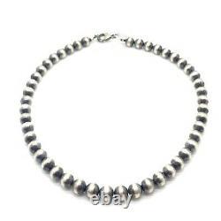 16 Perles Navajo Argent Sterling Collier De Perles 8mm