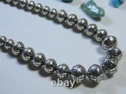 18' Peace Arrow Totem Navajo Pearls Stamped Sterling Collier D'argent Gradué