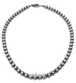 18 Perles Navajo Argent Sterling Collier De Perles De 6mm