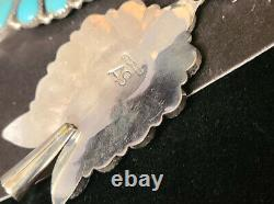 #201 Boucles D'oreilles En Argent Sterling Manufacturé Main Navajo Cluster Turquoise Squash Blossom