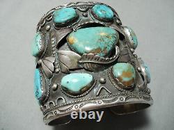 300 Grams Big Best Vintage Bracelet En Argent Sterling Navajo Turquoise Pour Homme