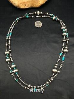 48in Long Navajo Pearls Native American Sterling Silver Collier Turquoise 3098