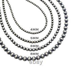 60 Perles Navajo Argent Sterling Collier De Perles De 5mm