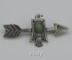 Amérindienne Navajo Arrow Et Thunderbird Sterling Pin Brooch Antique