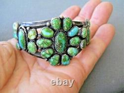 Amérindienne Sonoran Gold Turquoise Cluster Sterling Silver Cuff Bracelet