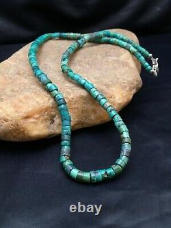 Amérindienne Turquoise 6 MM Heishi Perle Sterling Argent 20 Collier 2502