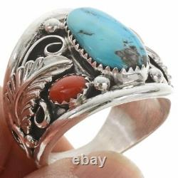 Argent Sterling Azsleeping Beauty Turquoise Coral Anneau Homme Navajo Grande Taille