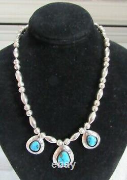 Argent Sterling & Kingman Pendentif Turquoise Collier Navajo Perles De Banc Indien