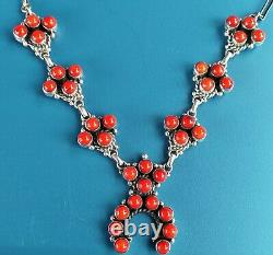 Argent Sterling Native American Red Coral Petitept Squash Blossom Collier 45g T