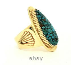 Bague Vintage Navajo 14k Gold Mens Avec #8 Spiderweb Turquoise Size 13 Livingston