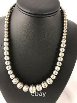 Banc Emboîté Main Perles Navajo Gradué Collier De Perles D'argent Sterling 20 335