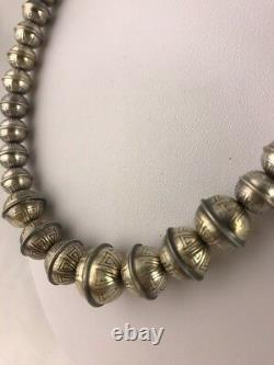Banc Emboîté Main Perles Navajo Gradué Perles D'argent Sterling Collier De Perles 18 335