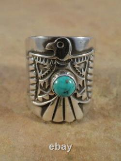 Belle Bague En Argent Sterling Navajo Et Bande De Cigare Turquoise Sz 7 1/2