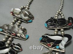 Best Vintage Navajo Zuni Turquoise Inlay Sterling Silver Squash Collier Blossom