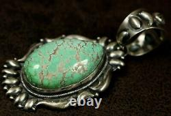 Big Vintage Old Pawn Navajo Vert Unique Turquoise Pendentif Sterling Enhancer