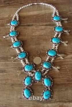 Bijoux Navajo Collier De Squash Turquoise Blossom Par Jackie Cleveland