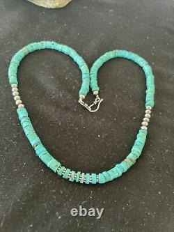 Bleu Naturel Turquoise Heishi Sterling Silver Collier Navajo Pearls 7mm 1200
